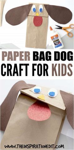 Paper Bag Dog Craft For Kids · The Inspiration Edit Are you looking for a fun and budget friendly craft for the kids? Why not try this paper bag dog cr Animal Crafts For Kids, Dog Crafts, Crafts For Kids To Make, Crafts For Girls, Toddler Crafts, Animals For Kids, Bible Crafts, Kids Crafts, Paper Bag Crafts