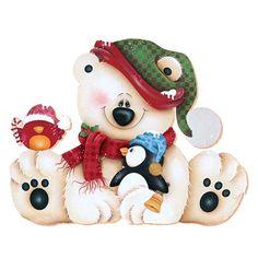 Tole style Christmas teddy bear, penguin, and bird. Christmas Drawing, Christmas Paintings, Christmas Art, Christmas Projects, Winter Christmas, Christmas Decorations, Christmas Ornaments, Christmas Teddy Bear, Christmas Animals