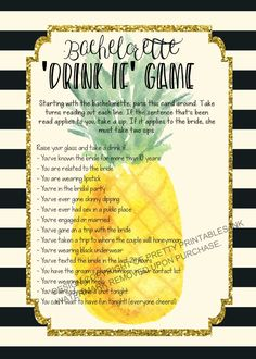 How FUN is this printable pineapple bachelorette drinking game? Available immediately upon purchasing from Pretty Printables Ink on Etsy. Double click image to purchase #bacheloretteparty #bachelorettegame