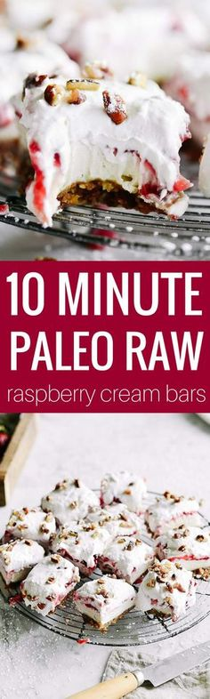 10 minutes minute dairy free, raw, paleo cream bars, layered with a 2 ingredient crust, cashew cream cheese, raspberry filling, and whipped cream. Super easy to make in the blender and have 9g protein per square! Raw paleo cheesecake recipe. No bake cashew cheesecake. Best gluten free vegan cheesecake. Raw paleo cheesecake recipe. No bake cheesecake recipe. Paleo cream cheese. Best paleo dessert recipes. Mothers day dessert recipes. Healthy paleo meals.