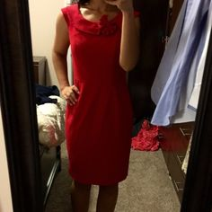 Red Calvin Klein dress Elegant ! Perfect for the office or parties ! Calvin Klein Dresses