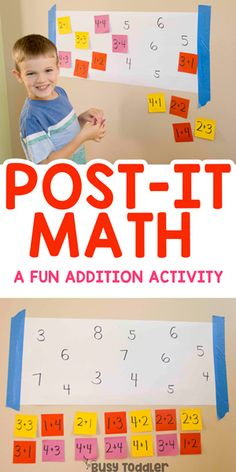 Post-it Math Activity for Kids #busytoddler #toddler #toddleractivity #easytoddleractivity #indooractivity #toddleractivities #preschoolactivities #homepreschoolactivity #playactivity #preschoolathome #playingpreschool