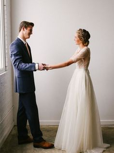 modest wedding dress with half sleeves and a flowing skirt from alta moda. -- (modest bridal gown) --