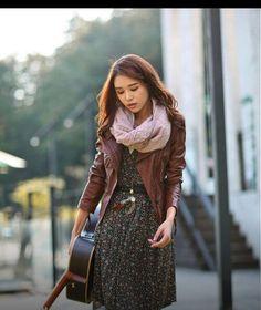 Jacket. Scarf. Dress. Guitar.
