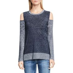 Two by Vince Camuto Cold Shoulder Color Block Sweater (€99) ❤ liked on Polyvore featuring tops, sweaters, obsidian gray, color block sweater, grey knit sweater, color-block sweater, cut-out shoulder sweaters and knit sweater
