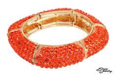 Hyacinth/Gold Square Pave Stretchy Bracelet.