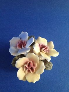 Beautiful Andrea by Sadek Minature Flower Pot with Yellow and Blue Flowers