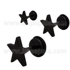 #falsas #dilataciones de acero con diseño en forma de #estrella. En acero #negro, viene en 4 tamaños: 5mm, 6mm, 8mm y 10mm. #bestseller #bepapaia tienda al por mayor de bisutería.