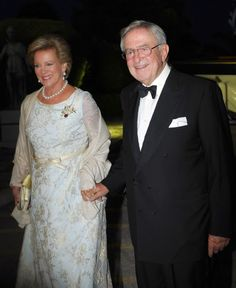 (L-R) Former Queen Anne-Marie of Greece and Former King Constantine II of Greece, arrive for a private dinner to celebrate their Golden wedding anniversary at the Yacht Club of Greece in Piraeus, Greece, 18.09.2014.