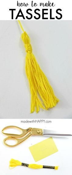 How to make a tassel for graduation, home decor or clothing. Tassels are a fun DIY craft idea. Using any kind of thread to make tassels for a wedding, party or Christmas ornaments. www.madewithHAPPY.com