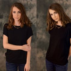 Blank Space Black Top Comfy and casual dolman sleeve knit top.  Amazing with a skirt, pants, or jeans. Dress this up or down. This top is a staple piece for your own closet. 95% Rayon 5% Spandex.  Hand wash.  Have several sizes available. Do not purchase this listing. Message me to create your own listing.   Can also put together an out fit for you with this top. Lewboutiquetwo Tops