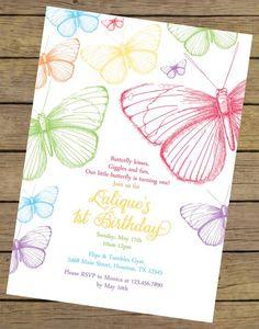 garden party Rainbow Butterfly Birthday Invitation by CharlesAlexDesign Garden Party Invitations, Butterfly Invitations, Birthday Invitation Templates, Birthday Party Invitations, Butterfly 1st Birthday, Butterfly Garden Party, Rainbow Butterfly, Garden Birthday, Pink Butterfly