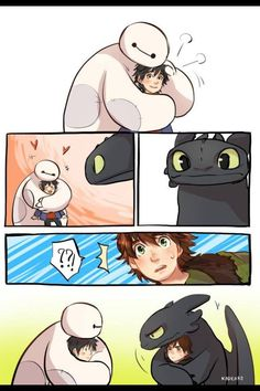 Big Hero 6 and How To Train Your Dragon Baymax and Toothles Hiro and Hiccup