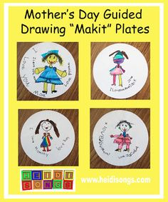 Heidisongs Resource:  Mother's Day Guided Drawing Makit Plates