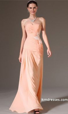 2015 Sweetheart Pleated And Fitted Bodice Prom Dress With Applique Sheath Floor Length Chiffon Dress