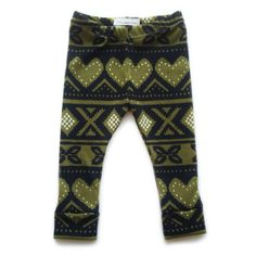 Olive Heart Fair Isle Leggings // Little Nugget Knits
