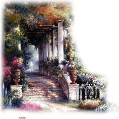 tubes escaliers ❤ liked on Polyvore featuring backgrounds, tubes, fade, garden, stairs and effect