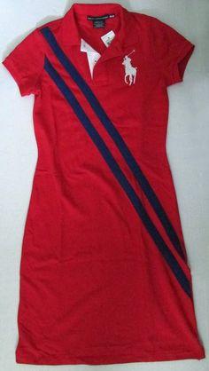 NWT Ralph Lauren Sport Polo Shirt Dress Red Big White Pony Size XS Size S #RalphLauren #ShirtDress