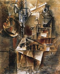 Pablo Picasso, Nature morte au journal, spring 1912 Oil and charcoal on canvas, 17 ⅝ × 15 ⅛ inches × cm)© 2018 Estate of Pablo Picasso/Artist Rights Society (ARS), New York Pablo Picasso Artwork, Picasso Cubism, Picasso Paintings, Oil Paintings, Picasso Still Life, Trinidad, Cubist Art, Abstract Art, Cubist Movement
