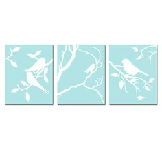 Birds of a Feather Trio - Set of Three 8x10 Coordinating Bird Nature Prints - Choose Your Colors - Shown in Gray, Aqua, Pink, and More. $55.00, via Etsy.