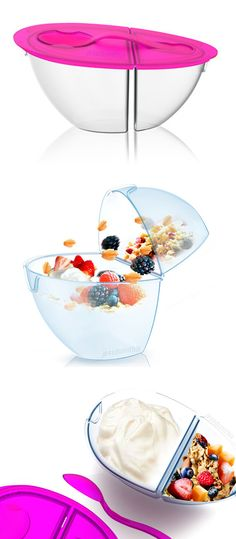 Flip 'n' Pour Container // perfect for yogurt, cereal etc. to keep dry and moist food separate until you're ready to combine + eat! #product_design #kitchen