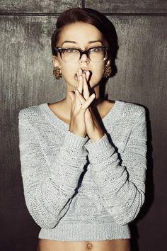 Unique Look- Gold Earrings, Gray Sweater, Half Black, Half No Frame Glasses, Short Hair Cut