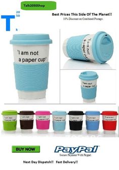 'I am Not a Paper Cup' Ceramic Eco Cup' Eco Cup, All The Colors, Planets, Ceramics, Paper, Day, Foodies, Stuff To Buy, Ceramica