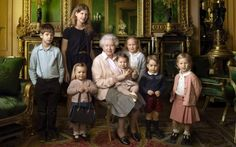 The Queen with her five great-grandchildren and two youngest grandchildren in her official birthday portrait