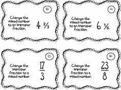 Must make for Math Workshop! Great Model Task cards to practice changing from improper fractions to mixed numbers and from mixed numbers to improper fractions! 4th Grade Fractions, Improper Fractions, Fourth Grade Math, 4th Grade Classroom, Classroom Ideas, Math Rotations, Numeracy, Math Centers, Guided Math