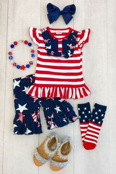 263398b99 Girls Boutique top and Ruffled capris Size 8 Star of July Independence