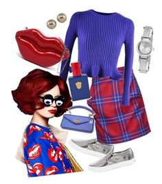 """""""blue&red ❤️"""" by hiyomi on Polyvore featuring ファッション, Vivienne Westwood Anglomania, Chicnova Fashion, White House Black Market, Carolee, Caravelle by Bulova と Kelly Wearstler"""
