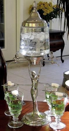 LADY ABSINTHE FOUNTAIN SET Includes Glasses & Spoon