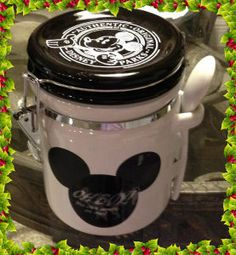 Disney Park Mickey Mouse Writeable Ceramic Honey Pot Jar Canister with Spoon Ceramic Canister Set, Canister Sets, Canisters, Anchor Homes, Mickey Mouse Kitchen, Mickey Mouse Pictures, Classic Mickey Mouse, Ceramic Owl, Wood Spoon