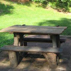 Barnwood and log picnic table