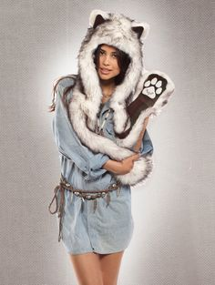 What's Your Spirit Animal? ..... HUSKY (Faux Fur) .................... Traits: Brave > Adventurous > Loyal.  Find out more about the #Husky #Spirit #Animal at: https://www.spirithoods.com/adults/womens/huskyplaid/916/# $119 #Gifts #Fashion #SpiritHood #SpiritHoods #Women #Hoodie #FauxFur #Paws #Scarf #SpiritHoods #Inneranimal