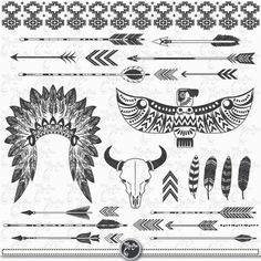 You will receive 28 beautifully rendered separate PNG files (transparent background) which were created at Each clipart element is saved separately about Native American Tattoos, Native Tattoos, Native American Symbols, Native American Teepee, Feather Tattoos, Body Art Tattoos, Tribal Tattoos, Aztec Eagle Tattoo, Mom Tattoos