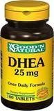 DHEA 25mg - 50 tabs,(Good'n Natural) by Good n Natural. $3.99. Good 'N Natural DHEA 25 mg Dietary Supplement. Vegetarian/Vegan Formula. Supplement Facts Serving Size 1 Tablet Amount Per Serving %Daily Value DHEA 25 mg (Dehydroepiandrosterone) Other Ingredients: Dicalcium Phosphate, Vegetable Cellulose, Vegetable Stearic Acid, Silica, Vegetable Magnesium Stearate. No Gluten, No Yeast, No Wheat, No Milk or Milk Derivatives, No Lactose, No Soy, No Egg, No Corn, No Grapefrui...