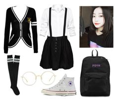 """Boys Over Flowers - School"" by haruhii ❤ liked on Polyvore featuring Talula, Something Else, Aéropostale, Converse, Linda Farrow and JanSport"