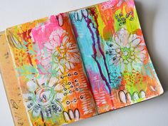 15+MMM Video from Rae Missigman  (simple multi-colored painted background with magenta ink drips and white stencilled flowers...from her new line)