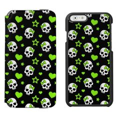 """Goth Skulls With Green Hearts Incipio Watson™ iPhone 6 Wallet Case Personalize your own iPhone case on Zazzle! Click the """"Customize"""" button to insert your own artwork, design, or pictures to make a one of a kind case. Try adding text using great fonts and preview your design! This easy to customize iphone 6 case has no minimum order and is made after you order. Browse and read customer reviews below detail of product page…"""