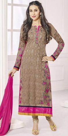 Karishma Kapoor Pink And Brown Satoon Salwar Suit With Dupatta.