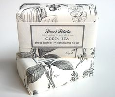 Whimsical and appealing package design for Shea Butter Moisturising Green Tea Soap by Sweet Petula