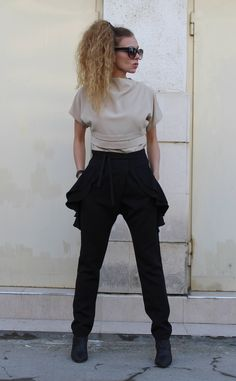 9ff7e48abecc Black Trousers  Ruffle Side Pants  Slim Fit Pants  Sexy Black Pants  Going  out outfit  Cigarette Trousers  Office Pants  Party Clothing