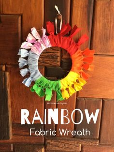 Make a pretty rainbow fabric wreath from fabric scraps!