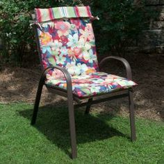 Beautiful Plantation Patterns Hampton Bay Reversible Hideaway Floral/Lancaster Stripe  Outdoor Sling Chair Cushion Available At