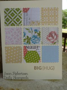 Stampin' Up! Demo, Joan Robertson's Daily Stampede blog - a quick card that uses up scraps of Designer Series Paper (DSP)