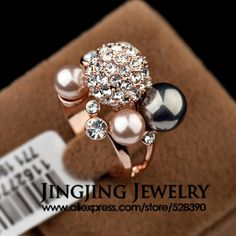 Noblest 18k Rose Gold Plated Natural Pearls and Alloy Rhinestones Luxury Stacked Finger Ring for Women (JingJing GA061) US $7.78
