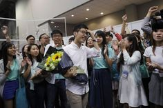 Political party Demosisto's Nathan Law (C), who helped lead the 2014 protests…