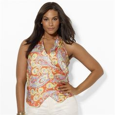 Lauren Ralph Lauren Plus Size Sleeveless Paisley Wrap Top #VonMaur #LaurenRalphLauren #Printed #Multicolor #Tank