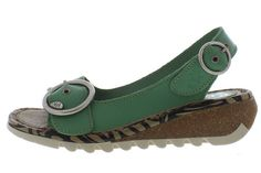 c98b6fbab5eb Fly London Tram Mynt Green Magenta Slingback Wedge Sandals